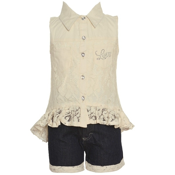 a6751a4fcddf Shop Real Love Little Girls Ivory Blue Lace Detailed Trim 2 Pc ...