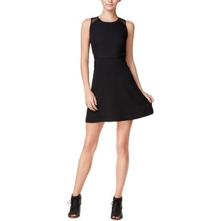 Kensie Womens Juniors Cocktail Dress Textured Lace Trim (Option: S - Black)