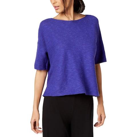 Eileen Fisher Womens Pullover Top Organic Linen Bateau Neck