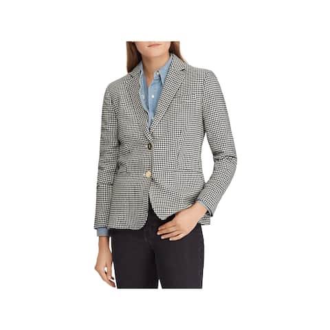 RALPH LAUREN Womens Gray 3/4 Sleeve Houndstooth Blazer Wear To Work Jacket Size: 12