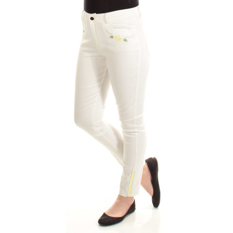 CYNTHIA ROWLEY Womens Ivory Embroidered Straight leg Pants Size: 10