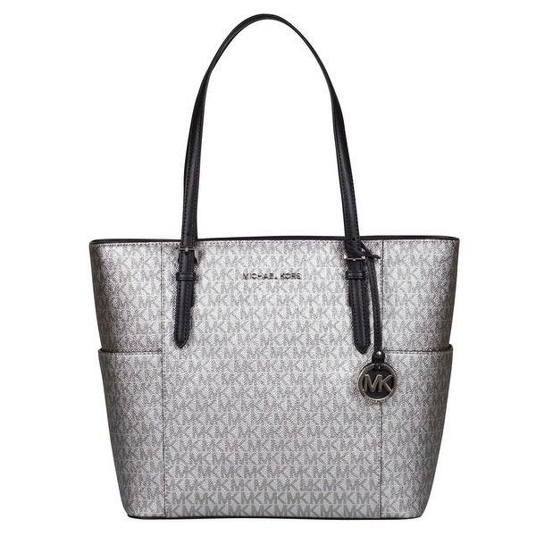 2234f22ccdc5 Shop Michael Kors Large Jet Set Travel Tote Handbag in Silver/ Black - Free  Shipping Today - Overstock - 25639332