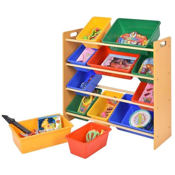 Costway Toy Bin Organizer Kids Childrens Storage Box Playroom Shelf Drawer Yellow