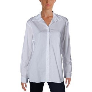 Aqua Womens Button-Down Shirt Poplin Lace-Back