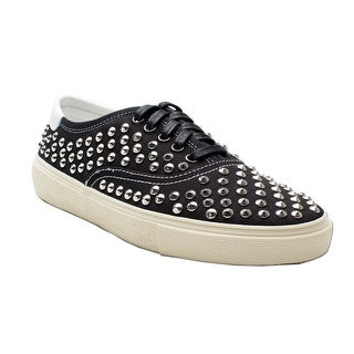 Saint Laurent Men's Canvas Metal Studded Low Top Sneaker Shoes Black Silver