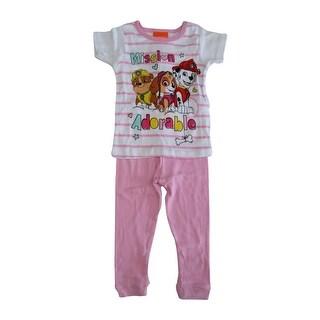 Nickelodeon Little Girls White Pink Paw Patrol Long Sleeve 2 Pcs Pajama Set