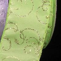 "Green Glitter Swirl Wired Craft Ribbon 2.5"" x 40 Yards"