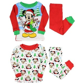 AME Disney Mickey Mouse Little Boys Santa Mickey 4-Piece Cotton Pajama Set