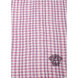 Versace Women's Embroidered Medusa Logo Cotton/Linen Scarf Pink