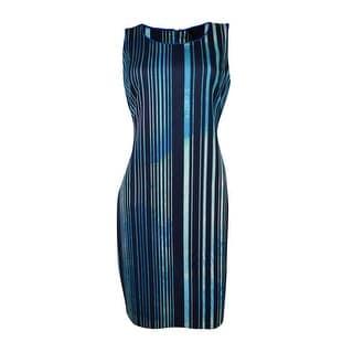 Marc New York Women's Scoop Neck Striped Stretch Dress