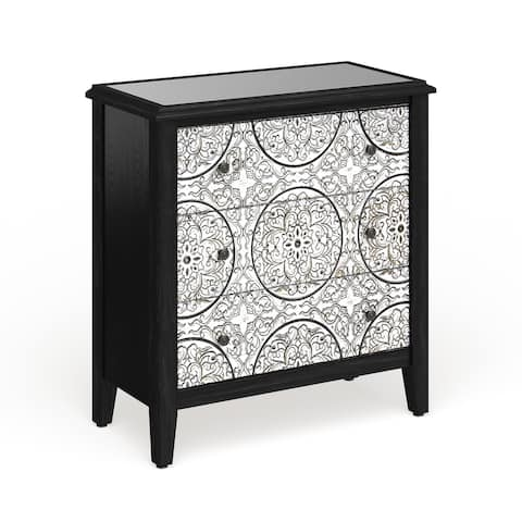 Silver Orchid Maurus Traditional 32 x 30-inch Wood and Iron 3-drawer Cabinet
