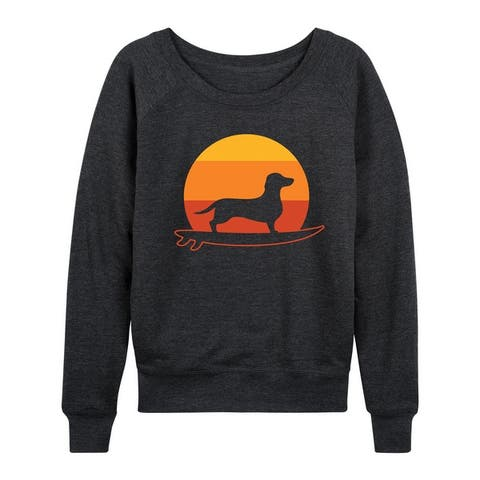 Surfing Dachshund - Women's Lightweight French Terry Pullover