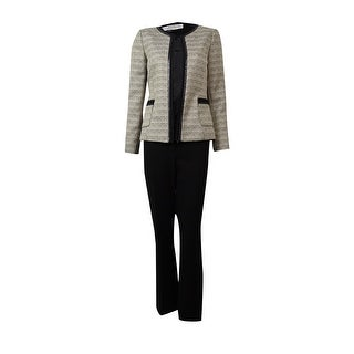 Tahari Women's Barry Empire Couture Tweed Pant Suit (14W, Sand/White/Black) - 14W
