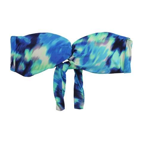 Carmen Marc Valvo Womens Tie Dye Bandeau Swim Top, Blue, X-Small