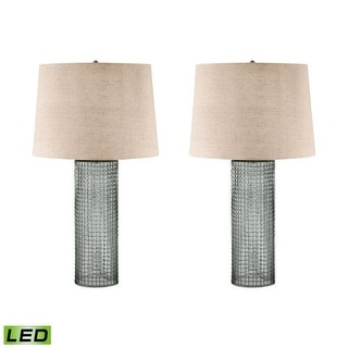 """Lamp Works 292/S2-LED Glass 1 Light 28"""" Tall LED Table Lamp with Hardback Linen Shade - Set of 2"""