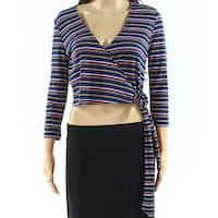 Polly & Esther Blue Womens Size Medium M Stripe Surplice Crop Top