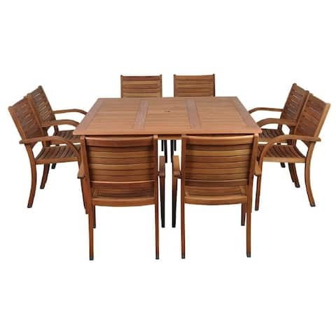 Arizona 9-Piece Outdoor Dining Set Eucalyptus Square Table Patio Furniture