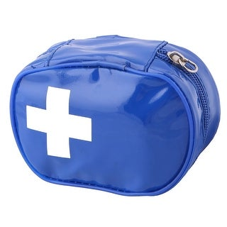 Camping PVC Portable Health Care Emergency First Aid Kit Storage Bag Royal Blue