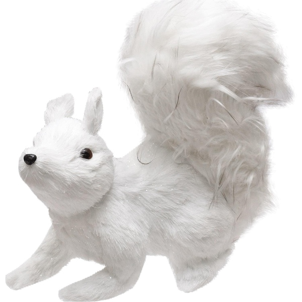 """10.5"""" Winter's Beauty White Walking Squirrel Christmas Decoration"""