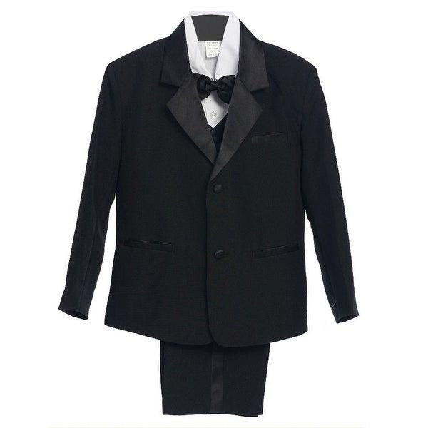 Boys Black 5 Piece Vest Jacket Pants Special Occasion Tuxedo Suit