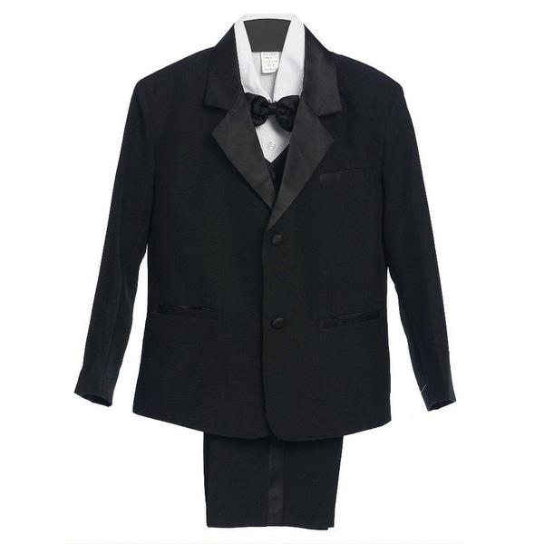 Little Boys Black 5 Piece Vest Jacket Pants Special Occasion Tuxedo Suit