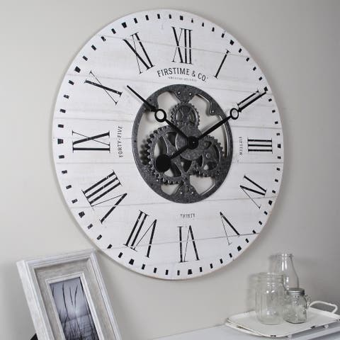 FirsTime & Co.® Shiplap Farmhouse Gears Wall Clock, American Crafted, Aged White, Rough Wood, 27 x 2 x 27 in - 27 x 2 x 27 in