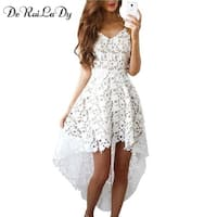 7b5fe4b0fa Deruilady Summer Fashion Women Hot Dress Boho Casual Mini Bodycon Dresses  Women White Hot Lace Beach