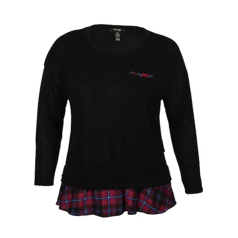 Style & Co Women's Layered-Look Plaid Top - Black