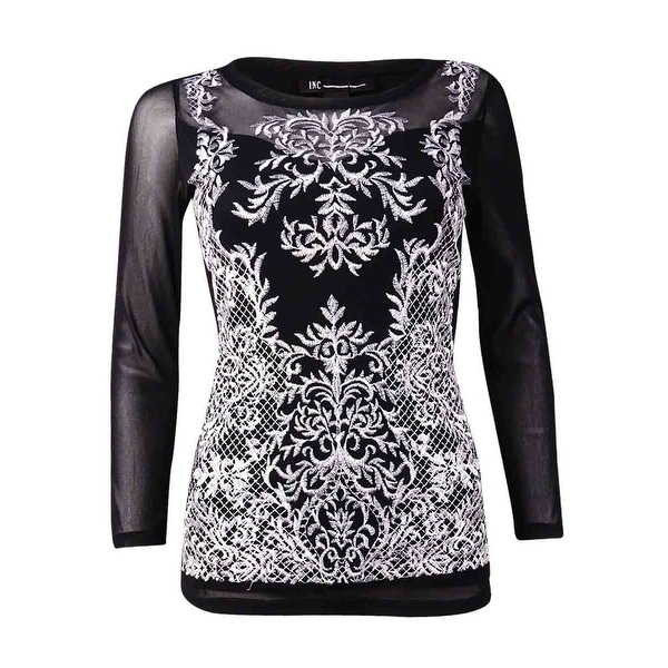 08d41d5f1a6 Shop INC International Concepts Women's Embroidered Illusion Top (XS, Deep  Black) - Deep Black - xs - On Sale - Free Shipping On Orders Over $45 ...