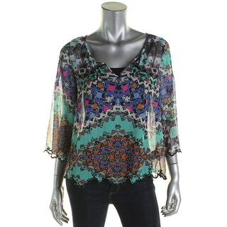 Jessica Simpson Womens Juniors Blouse Chiffon Printed - S