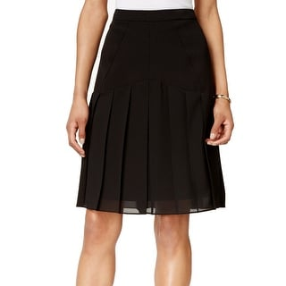 Kasper NEW Black Women's Size 2P Petite A-Line Pleated Solid Skirt