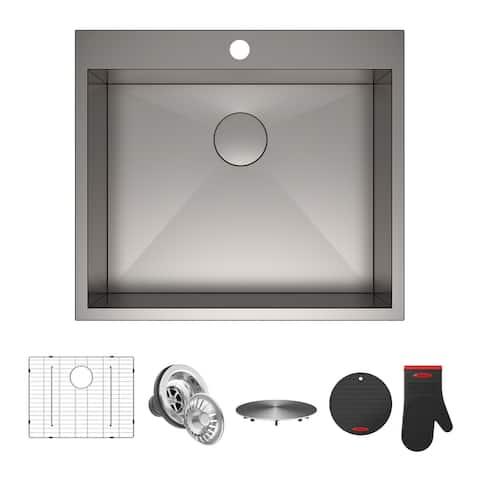 KRAUS Pax Stainless Steel 25 inch 1-Bowl Drop-in Kitchen Sink