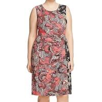 Nic + Zoe Red Tribal Tropical Print Women's 3X Plus Sheath Dress