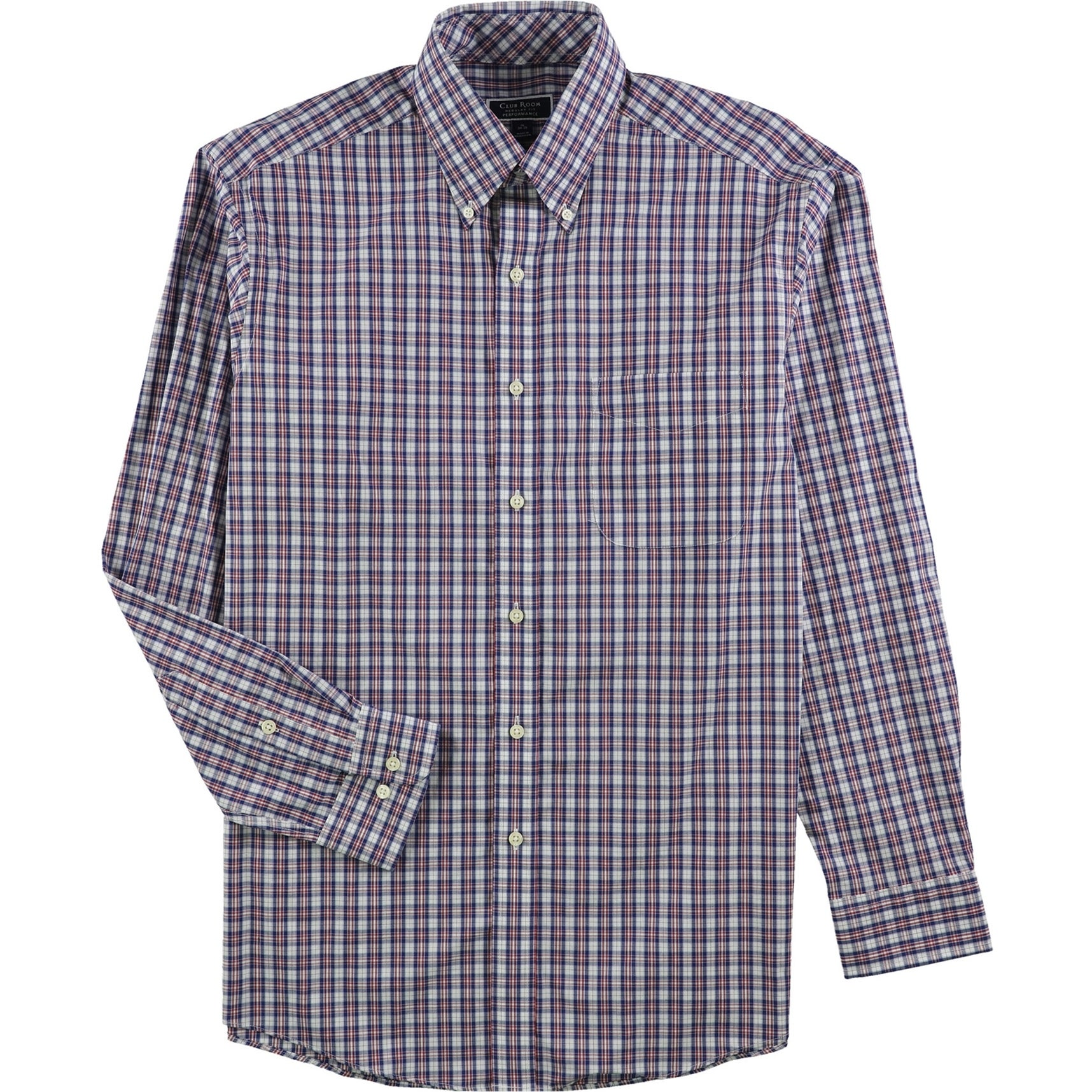 Club Room Mens Wrinkle Resistant Button Up Dress Shirt