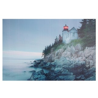 """LED Lighted Lighthouse Home with Morning Sunrise Canvas Wall Art 15.75"""" x 23.5"""" - Blue"""