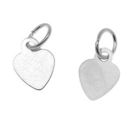 Silver Plated Small Heart Charm With Ring - 8.5x6.5mm (6)