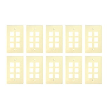 Sewell Wall Plate with 6 keystone ports, 1-Gang, Biege, 10 Lot
