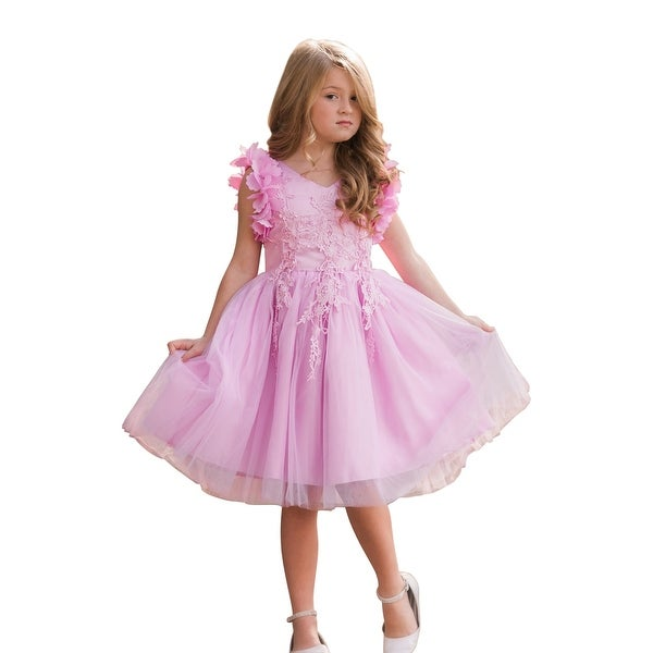 601bd1af33 Shop Just Couture Girls Pink Lavender Petal Sleeve Junior Bridesmaid Dress  - Free Shipping Today - Overstock - 23078035