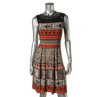 Sandra Darren Womens Beaded Sleeveless Wear to Work Dress