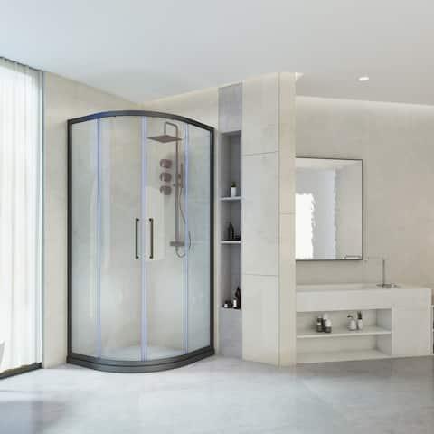 Art-Leon Fanshaped Shower Enclosure with Double Sliding Door