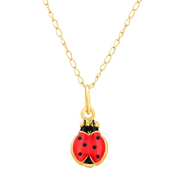 Girl's Ladybug Pendant in 14K Gold