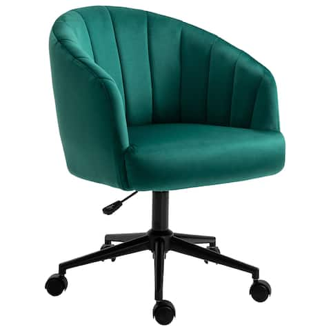HOMCOM Retro Upholstered Height-Adjustable Swivel Mid-Back Chair with Steel Base and Wheels, Emerald Green