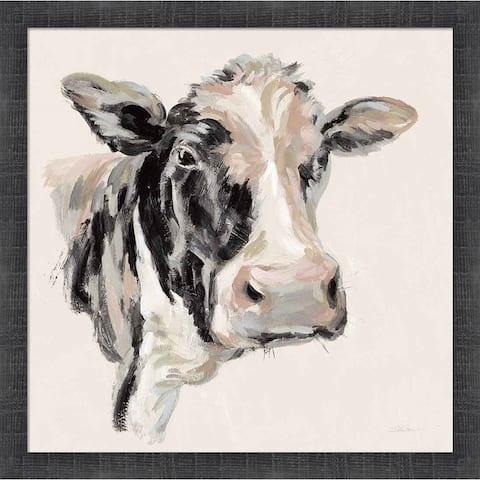 Silvia Vassileva 'Expressionistic Cow I Neutral' Framed Art