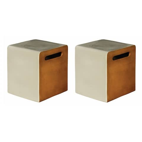 Indoor Outdoor Ceramic Cube Stool Set in Dove Grey and Taupe