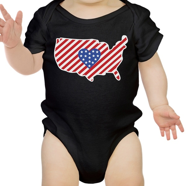 American Flag Pattern USA Map Cute Baby Bodysuit For Baby Shower
