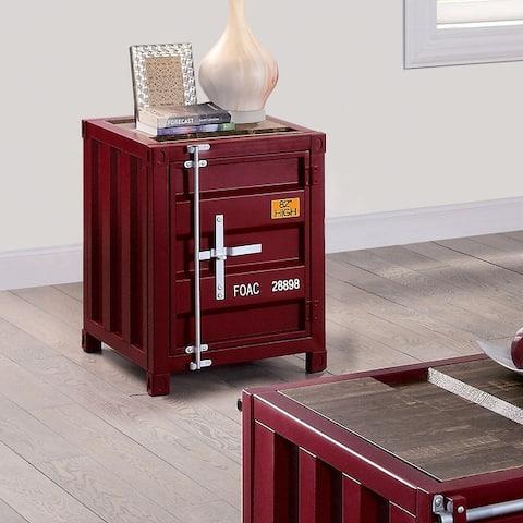 Furniture of America Arn Industrial Metal Storage End Table