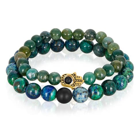 Crucible Stainless Steel Hamsa with Moss Agate and Azurite Stone Stretch Bracelet Set