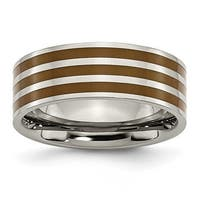 Chisel Brown Enamel Flat Polished Titanium Ring (8.0 mm)