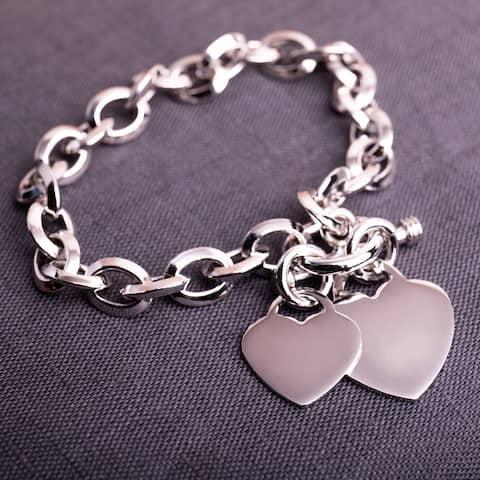 Miadora Sterling Silver Double Heart Link Charm Bracelet - 7.5 in x 46.5 mm - 7.5 in x 46.5 mm