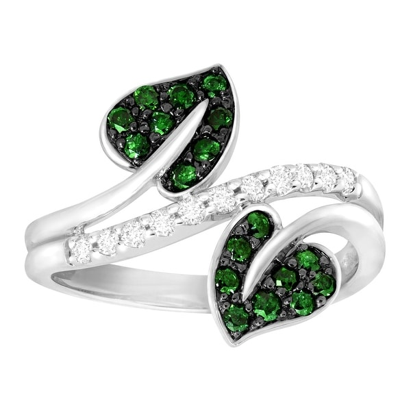 1/2 ct Green & White Diamond Leaf Ring in 10K White Gold